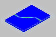 Ko-planaarisen aaltojohdon EM-simuloitu 3D-malli.