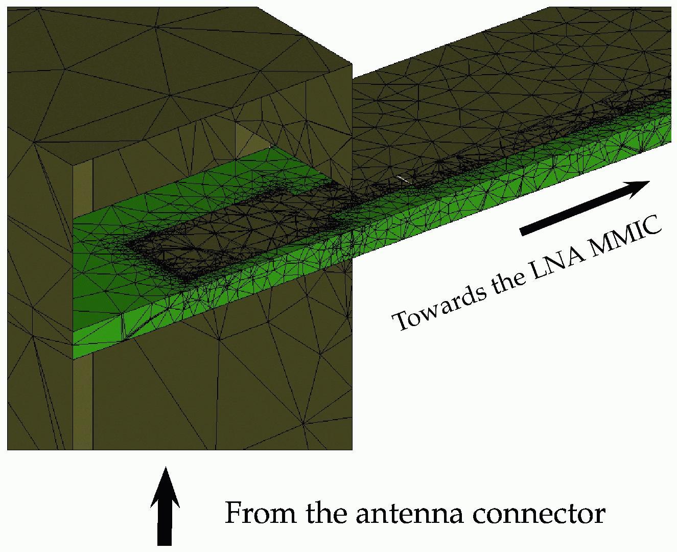 MMIC LNA waveguide input